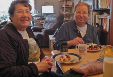 Cheri and Jerry enjoying the Christmas pancake